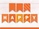 Happy Birthday Banner orange Happy Birthday orange Banner Printable orange Bunting