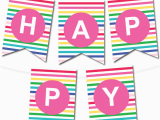Happy Birthday Banner Pdf Download Happy Stripes Pennant Banner Chicfetti