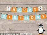 Happy Birthday Banner Pdf Download Penguin Party Happy Birthday Banner Geometric