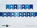 Happy Birthday Banner Per Letter Printable Blue Happy Birthday Printable Banner Blue tones Bunting