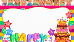 Happy Birthday Banner Picture Frame Birthday Bright Frame with Cake and Cute Kids Vector Image