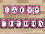 Happy Birthday Banner Pink and Silver Electric Pink Black Silver Happy Birthday Bunting