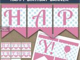 Happy Birthday Banner Pink and Silver Printable Happy Birthday Banner Pink Blue Polka Dots