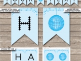 Happy Birthday Banner Print Out Dance Banner Template Blue Disco Birthday Banner