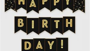 Happy Birthday Banner Printable Black and Gold Black Gold Printable Happy Birthday Banner Birthday