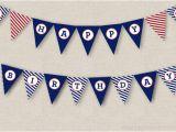 Happy Birthday Banner Printable Pdf Nautical Birthday Banner Instant Download Printable Pdf Happy