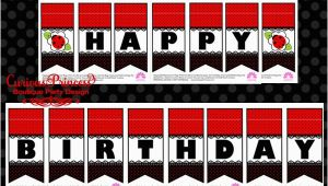 Happy Birthday Banner Printable Red and Black Curious Princess March 2014