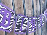 Happy Birthday Banner Printable Violet Purple Zebra Print Happy Birthday Banner by Justbeccuz