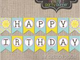 Happy Birthday Banner Printable Yellow Sunshine Happy Birthday Banner Instant by Inkobsessiondesigns