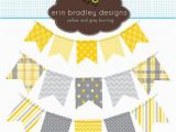 Happy Birthday Banner Printable Yellow Yellow and Gray Bunting Banner Flags Clipart by
