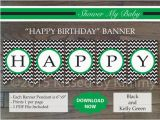 Happy Birthday Banner Red and Black Black Kelly Green Happy Birthday Banner Printable Boy