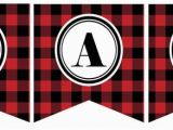 Happy Birthday Banner Red and Black Instant Download Red and Black Buffalo Plaid Happy