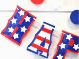 Happy Birthday Banner Red and White Americana Birthday Stars and Stripes Birthday Banner
