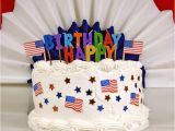 Happy Birthday Banner Red White and Blue July 4th Patriotic Birthday Cake Stock Photo Image 47477291