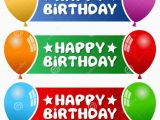 Happy Birthday Banner Red White and Blue Party Balloons Horizontal Banners Royalty Free Stock