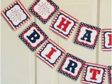 Happy Birthday Banner Red White and Blue Red and White Banner Etsy