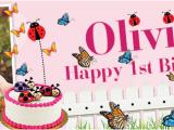 Happy Birthday Banner Sainsburys Happy 1st Birthday butterfly Ladybird Banner theme