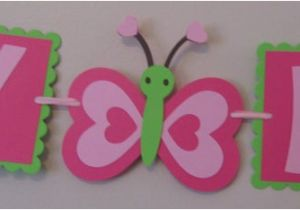 Happy Birthday Banner Small Small butterfly Happy Birthday Banner Ready to Ship by