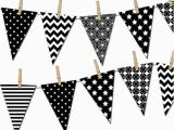 Happy Birthday Banner Template Black and White Black and White Banner Printable Party Banner Happy Birthday