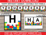 Happy Birthday Banner Template Editable Lego Party Banner Template Happy Birthday Banner