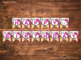 Happy Birthday Banner Template Hello Kitty Instant Printable Bunting Hello Kitty Happy Birthday