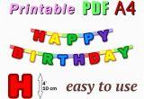 Happy Birthday Banner Template Pdf Items Similar to Printable Happy Birthday Banner Pdf A4