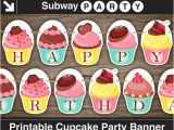 Happy Birthday Banner Template Pdf Printable Cupcake Party Banner Happy Birthday Garland