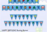 Happy Birthday Banner Template Pdf Super Mario Brother Birthday Party Bunting Banner Printable