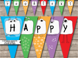 Happy Birthday Banner Template Printable Monster Party Banner Template Birthday Banner Editable