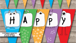 Happy Birthday Banner Template Printable Monster Party Banner Template Birthday Banner Editable