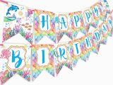 Happy Birthday Banner Under the Sea Mermaid Bottle Wraps 20 Mermaid Water Bottle Labels