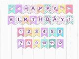 Happy Birthday Banner Unicorn Printable Purple Unicorn Banner Unicorn Birthday Party Unicorn Happy