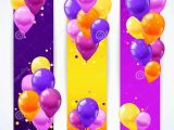 Happy Birthday Banner Vertical Colorful Balloons Banners Vertical Stock Vector Image