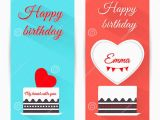 Happy Birthday Banner Vertical Set Of Vertical Birthday Greeting Banner with Cake Flat