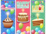 Happy Birthday Banner Vertical Watercolor Vector Happy Birthday Background Stock Vector