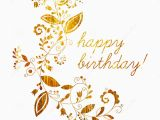Happy Birthday Banner White and Gold Gold Greeting Happy Birthday Card Stock Vector