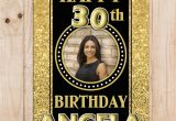 Happy Birthday Banner White and Gold Personalised Black Gold Sparkle Happy Birthday Photo