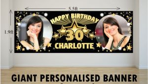 Happy Birthday Banner White and Gold Personalised Giant Large Black Gold Stars Happy Birthday