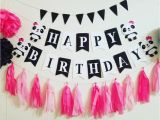 Happy Birthday Banner with Baby Photo Panda Bear Garland Photo Prop Panda Party Photo Props