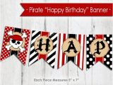Happy Birthday Banner with Name Edit Pirate Happy Birthday Banner Instant Download