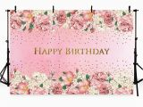 Happy Birthday Banners Card Making 7×5 Pink Flowers Photography Backdrops Happy Birthday