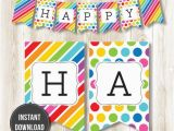Happy Birthday Banners Diy Instant Download Rainbow Happy Birthday Banner by