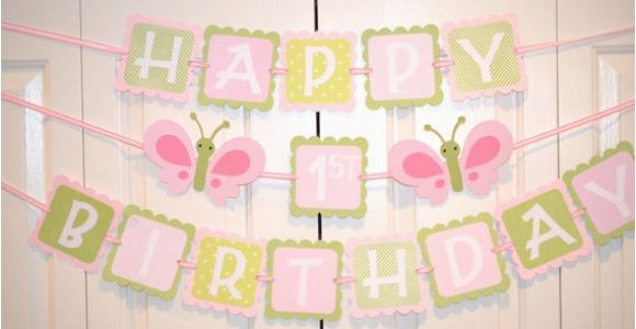 Happy Birthday Banners for Card Making butterfly Happy 1st Birthday Banner Birthday Party butterfly