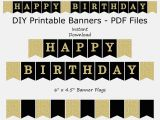 Happy Birthday Banners Printable Happy Birthday Banner Black Gold Glitter Printable