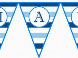 Happy Birthday Banners Printable Instant Download Blue Horizontal Stripe Printable Birthday