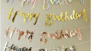 Happy Birthday Banners Silver Rose Gold Silver Happy Birthday Banner Bunting Hanging