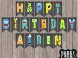 Happy Birthday Banners with Names Custom Little Monster Birthday Banner with Name Monster