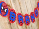 Happy Birthday Banners with Names Spiderman Inspired Happy Birthday Banner Superhero