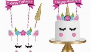 Happy Birthday Cake Banner Diy Glitter Unicorn Horn Happy Birthday Cake topper Banner