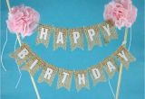 Happy Birthday Cake Banner Template Rustic Burlap Cake Banner Pink Birthday Cake Bunting Cake